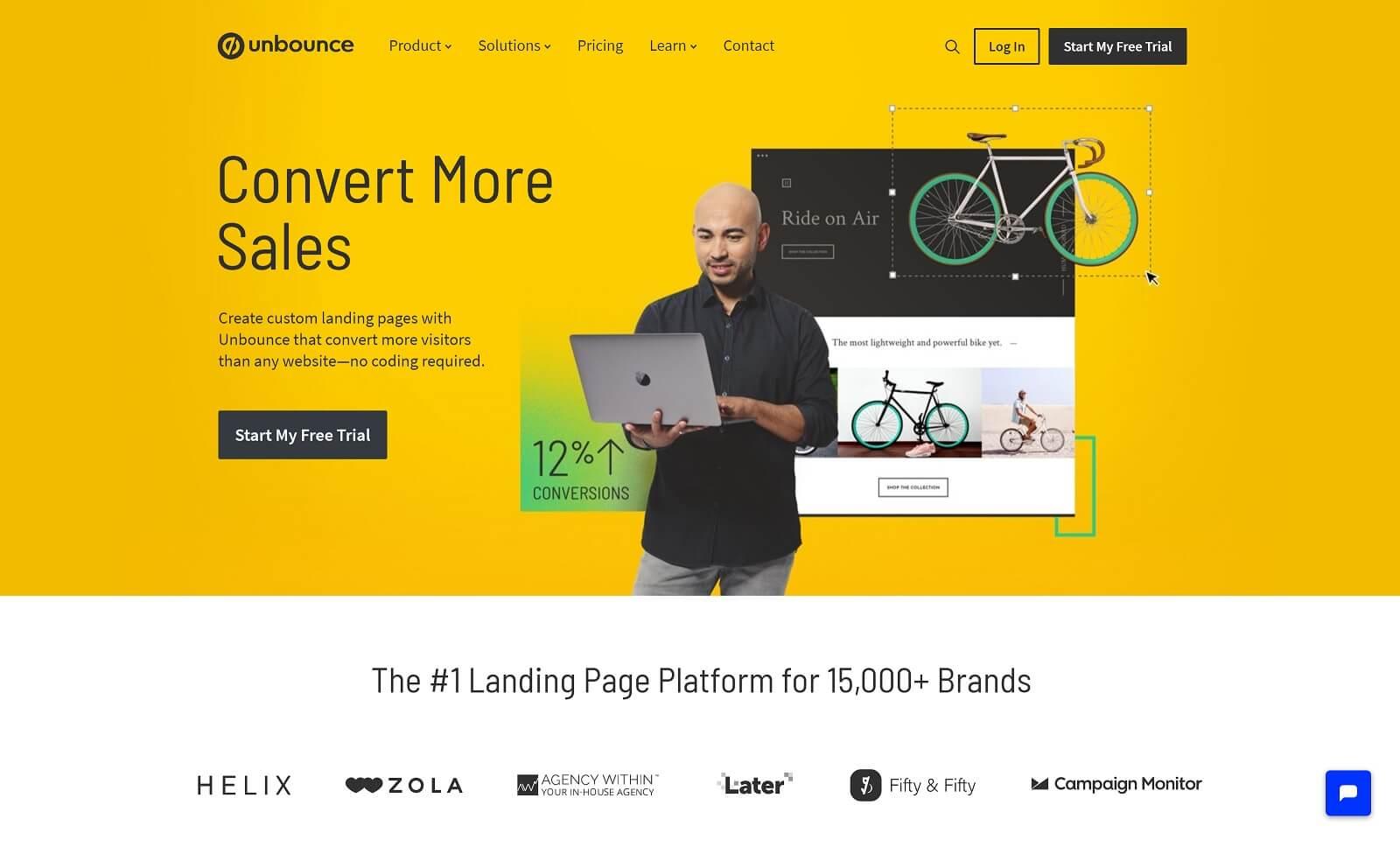 Beispiel für eine gelungene Landingpage mit einem relevanten Bild, welches das Produkt verdeutlicht